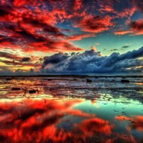 Fondo de pantalla 4k nubes rojas