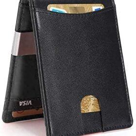 Carteras para Hombre RFID que Bloquean el Dinero Clip de Doble Pliegue Delgado Genuino Billetera de Cuero con Crédito en La ventana con ID De bolsillo Y bolsillo monedero con cremallera (Negro mejorado)