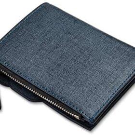 FIZILI - portafolios para hombre, diseño minimalista con monedas, clip de cambio de dinero y fotos personales