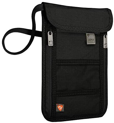 Lewis N. Clark RFID Cuello Stash, Rfid - portafolios con bloqueo para el cuello, Negro, Una talla